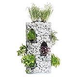 bellissa Gabionen-Kräuterturm - 95620 - Steinkorb-Blumenturm für 10 Pflanzen mit integriertem Gießrohr und Trennfolie - Durchmesser 40 cm, Höhe 80 cm